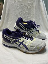 New listing Women's Asics Gel Rocket B455N White Purple Volleyball Shoes Size 9.5