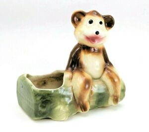 1950s Vintage Bear on Log Planter Mid Century Pottery by American Bisque Company