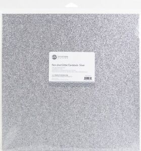"""ETC Papers Non-Shed Glitter Cardstock 12""""X12"""" 10/Pkg-Silver"""