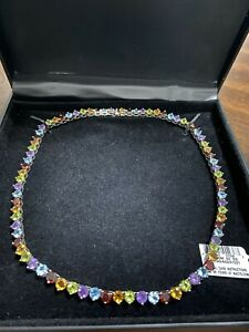 Multi-Gem Stone Necklace In Sterling Silver, New