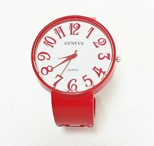 NEW-GENEVA BRIGHT RED METAL BANGLE,CUFF WHITE LARGE ARABIC NUMBER DIAL WATCH