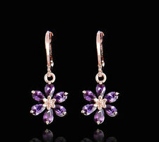 18K ROSE GOLD PLATED HOOP FLOWER CZ PURPLE AMETHYST CRYSTAL DROP DANGLE EARRINGS