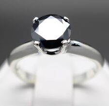 1.53cts 7.40mm Real Natural Black Diamond Engagement Ring AAA Grade $965 Value..