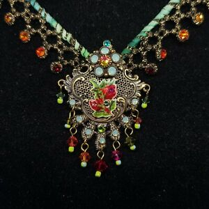 Necklace Michal NEGRIN Swarovski Crystals fabric Made in Israel