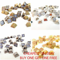 Pyramid Hot Fix Iron on Square Bucket Studs Beads in 100 & 50pcs Bags Belts UK