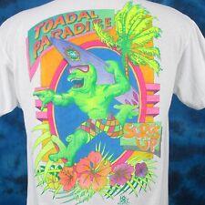 vintage 80s SURF TOAD-AL PARADISE CARTOON PAPER THIN T-Shirt M/L skate beach sun