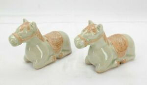 "Green Celadon Ceramic Kneeling Horses Figurines / 3"" Tall /  (2 Pack) T2"