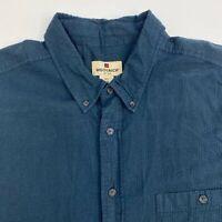 Woolrich Button Up Shirt Mens 2XL Dark Green Blue Short Sleeve Cotton Casuals