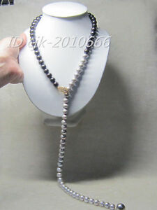 new style 10-11 MM real south sea Multicolor grey white pearl necklace pendant