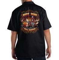 Dickies Black Mechanic Work Shirt Full Service Body Shop Hot Rat Rod Pin Up Girl