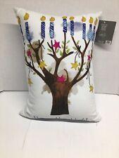 "Sara Berrenson""Happy Hanukkah"" Pillow 12""x16"" Removable Cover Cotton Canvas"
