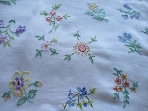 Vintage Hand Embroidered Linen Tablecloth-BEAUTIFUL FLORAL'S THROUGHOUT