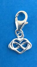 925 Sterling Silver Infinity Heart Clip on Charm
