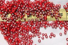 7/0  Antique Vene Made In Italy Dk Cranberry White Heart Seed Bead Limited  /1oz