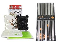 Japanese Bento  Baby Panda Rice Mold Cutter Set & 5 Pairs of Steel Chopsticks