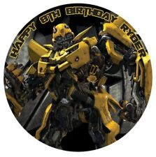 1 x Transformers Bumblebee 19cm Round Edible Cake Topper Image