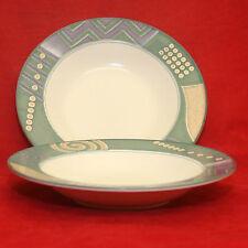 2 Mikasa Intaglio Life Style CAC 18 Rimmed Soup Salad Bowls Geometric