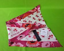 NEW Coach Scarf Wild Flowers Floral 100% Silk F77807 in Dahlia Pink/Multi $75.