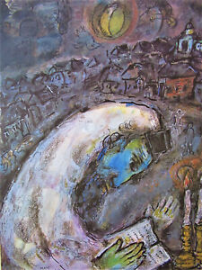 CHAGALL - PRAYER - ORIGINAL OFFSET LITHOGRAPH - 1977 - FREE SHIP IN THE US !!!