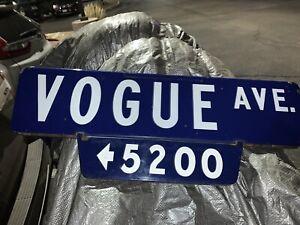 Porcelain Street Sign, Los Angeles, Ca. Hollywood, Vogue Ave, Art Deco