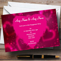 Hot Pink Heart Engagement Party Personalised Invitations