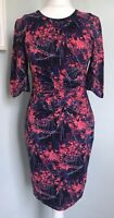WHISTLES Blue Pink Silk Mix Ruched Wiggle Dress Sz 10 Exposed Back Zip Party
