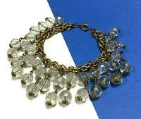 "Vintage ""Cha-Cha"" Bracelet Old Cut Rock Crystal & Brass chain Double Row BB107ZU"