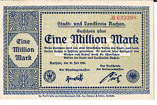 GERMANY NOTGELD Aachen Stadt&Landkreis 1 MIL MARKS 20.07.1923 AU