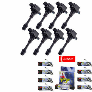 IGNITION COILS + Denso Spark Plugs 4505 For NISSAN INFINITI QX56 5.6L V8 UF510