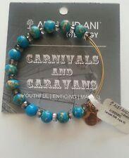 Alex and Ani AQUA Bangle Bracelet Carousel Crystal Turquoise NWT Beaded RETIRED