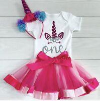 Girls 1st First Birthday Tutu Skirt Unicorn Outfit Pink Cake Smash Set Headband