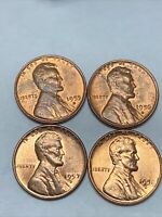 Lot of 4 BU -DENVER- LINCOLN WHEAT CENTS 1955 1956 1957 1958 Gem Uncirculated