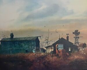 """Vintage Lithograph """"A Summer Evening""""  by Frank M. Hamilton 11"""" x 14"""" 1950s"""