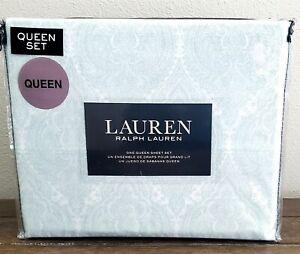 Ralph Lauren White Mint Green Medallion Paisley Queen Sheet Set 4 Pc New