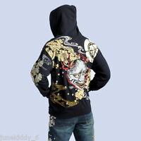 New Mens Embroidery Hoody Sweatshirt Sukajan Jacket Hoodie Japanese Tattoo Devil