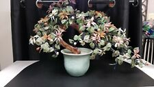 """Bonsai Tree Chinese Glass Agate Asian Flowers In Celadon Pot 21"""" Length  X  14""""T"""