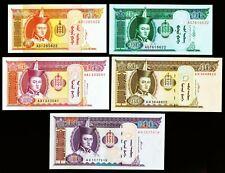 MONGOLEI. 5, 10, 20, 50, 100 Tögrög 1993-2011. P. 55, 61Ba, 62f, 64b, 65a. UNC.