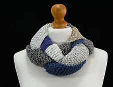 Hand made multicoloured braided infinity scarf.