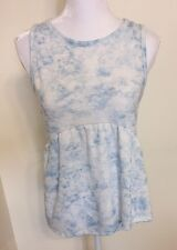 Womens M PAPER CRANE Loose Blouse Blue White Tank Top Flowy Tiered Hi Low NWT