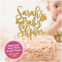 3mm Acrylic GLITTER Baby Shower Cake Toppers PERSONALISED ANY NAME Party Custom