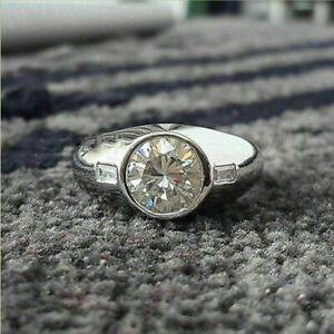 Mid Century Engagement & Wedding Ring For Men's 2.44 Ct Diamond 14K White Gold
