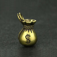 Chinese Brass Money Bag Pendant Small Statue Birthday Xmas Pocket Gift Good Luck