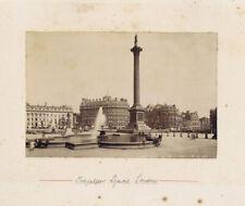 LONDON Trafalgar Square - Antique Albumen Photograph c1890
