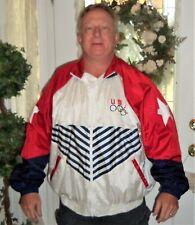 USA Olympics VTG Full Zip Windbreaker Track Jacket Womens 2XL RED WHITE & BLUE