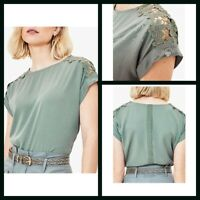 New Ex Oasis Ladies Khaki Top with crochet sleeve Size 6 - 18