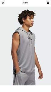 ADIDAS Men's Sleeveless Basketball Club Hoodie NWT Dark Gray XL Shirt N17