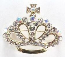 Brooch Pin - Crown - Royalty - AB & White Crystal Rhinestones - Gold Tone