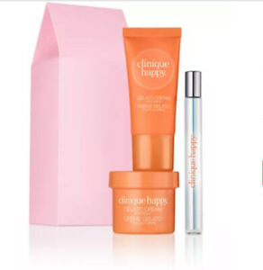NIB Clinique Happy Perfume Spray, Happy Gelato Cream for Body, & Handcream $44!