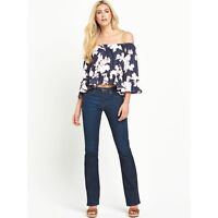 Womens navy blue floral print off the shoulder gypsy top size 8 10 12 14 and 16