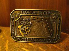 Florida Moose Association Brass Belt Buckle - Vintage Membership Lodge Member
